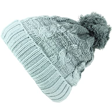 242592515d2 Hawkins Cable Knit Bobble Beanie Hat with Super Soft Fleece Lining - Grey