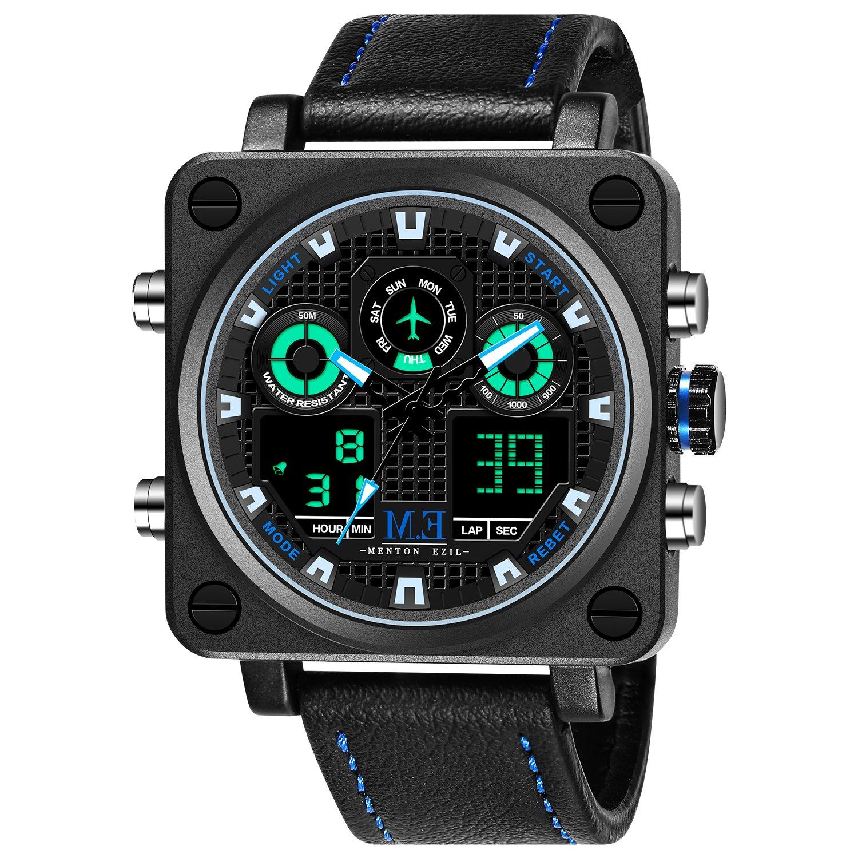 Regalo para Padre Menton Ezil Reloj Hombre Dijital Deportivo de Pulsera Multifuncional LED Cronómetro Doble Horario Alarma Resistente al Agua Impermeable Negro