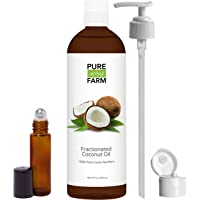 Pure Acres Farm Fractionated Coconut Oil (Liquid) - WITH PUMP + FREE Recipe eBook! - Use with Essential Oils and Aromatherapy as a Carrier and Base oil - Add to Roll-On Bottles for Easy Application