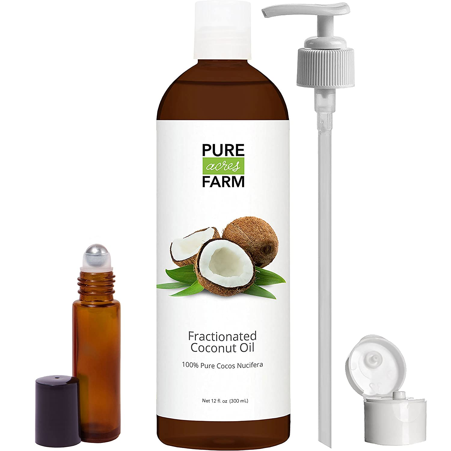 Fractionated Coconut Oil (Liquid) - WITH PUMP + FREE Recipe eBook! - Use with Essential Oils and Aromatherapy as a Carrier and Base oil - Add to Roll-On Bottles for Easy Application (12oz) Pure Acres Farm fractionated-coconut-oil