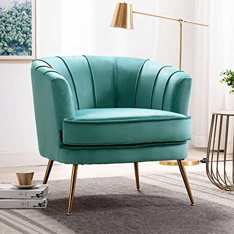 Nordic Sofa Armchair Velvet Upholstered Accent Tub Lounge Chair Gold Metal Legs