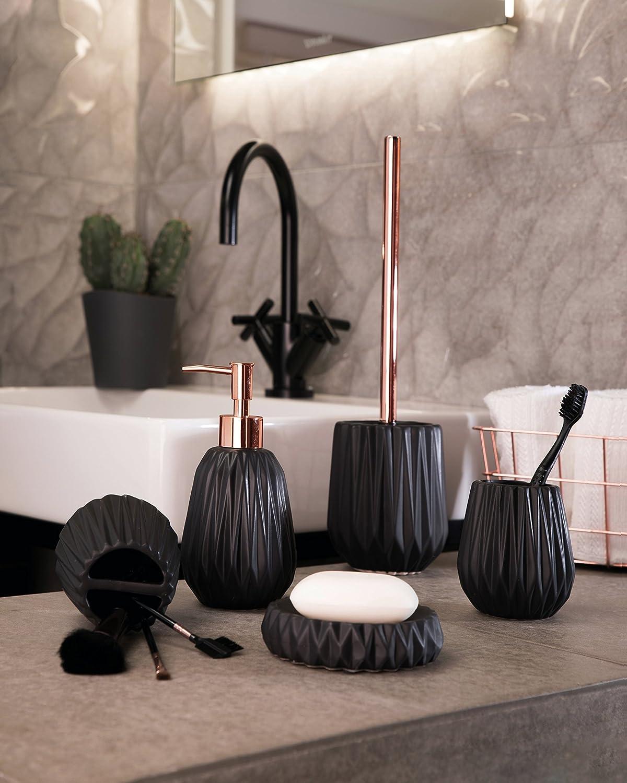axentia Seifenschale Chicago schwarz Seifenschale aus hochwertiger Keramik mit schlichtem und modernem Design Seifenbox mit gro/ßer Ablagefl/äche in sch/öner Farbe