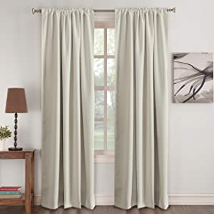 "Window Treatments Drapes Room Darkening Curtain Panels Back Tab/Rod Pocket Curtain Panels for Living Room Thermal Insulated Noise Reducing Window Curtain 52"" Wide x 96"" Long, Cream, 2 Panels"