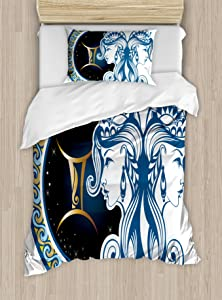 Ambesonne Zodiac Duvet Cover Set, Gemini Motif with Back to Back Women Future Celestial Information Cosmos Theme, Decorative 2 Piece Bedding Set with 1 Pillow Sham, Twin Size, Black Blue
