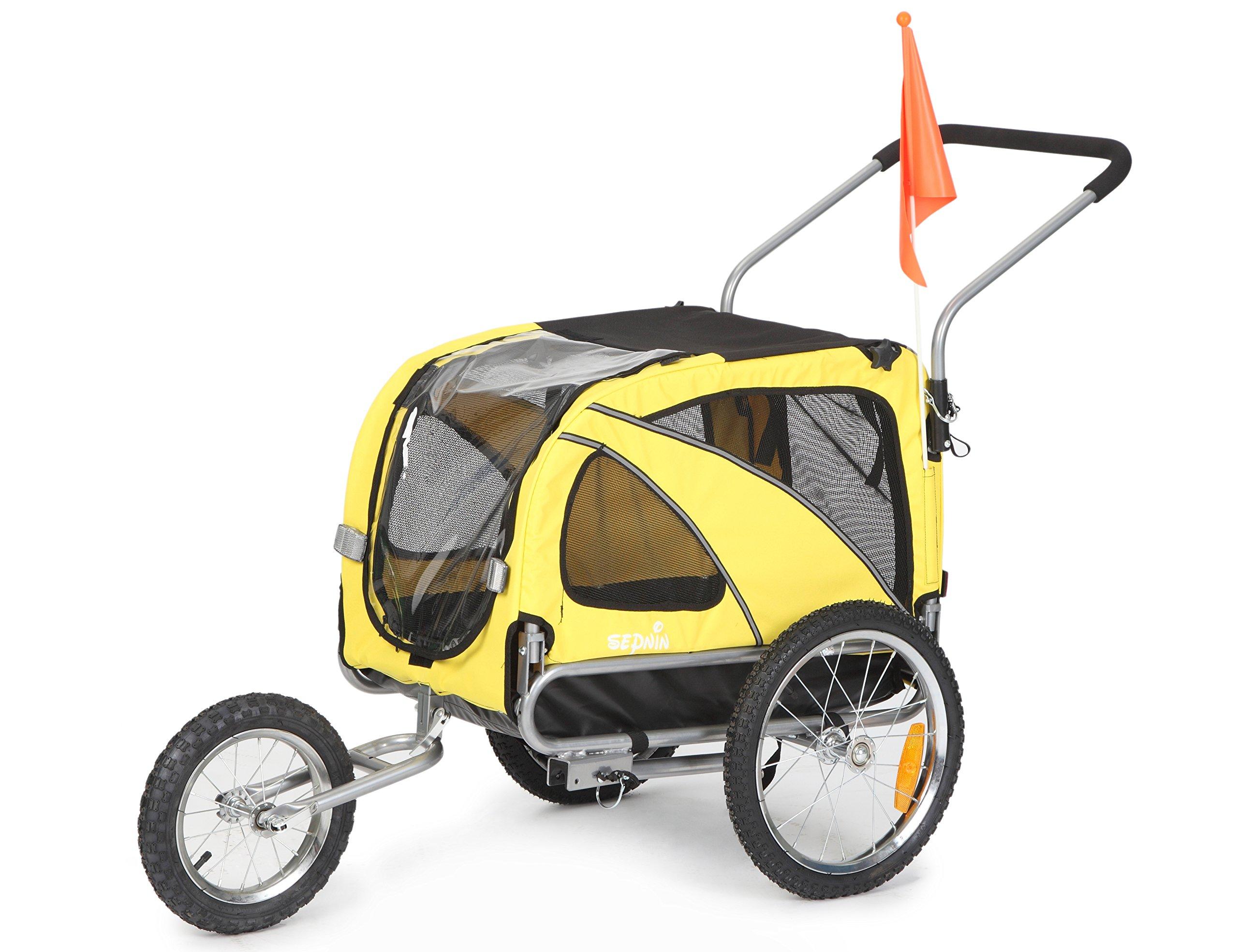 Sepnine 2 in1 medium pet dog bike trailer bicycle trailer and stroller jogger 10201 (Yellow)
