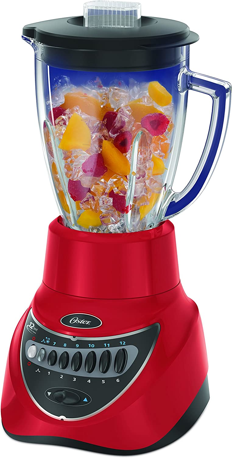 Oster BLSTEG7805R Glass Jar Blender, 220 Volts (Not for USA), 12 Speed 6-Cup, Red