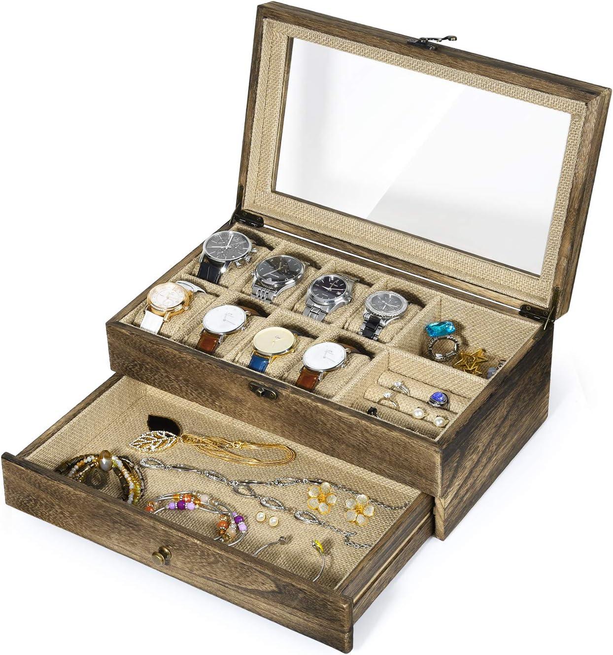 RooLee Caja organizadora de relojes de madera, caja rústica para joyas con parte superior de cristal real, cierre de metal, 10 ranuras y 8 almohadas extraíbles para relojes: Amazon.es: Hogar
