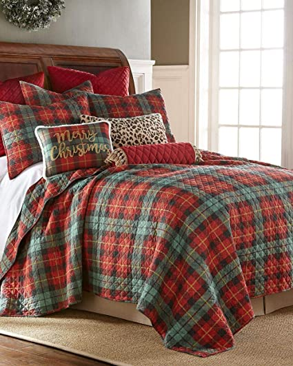 luxury rustic winter holiday farmhouse country christmas red cozy plaid quilt set king size holiday bedding