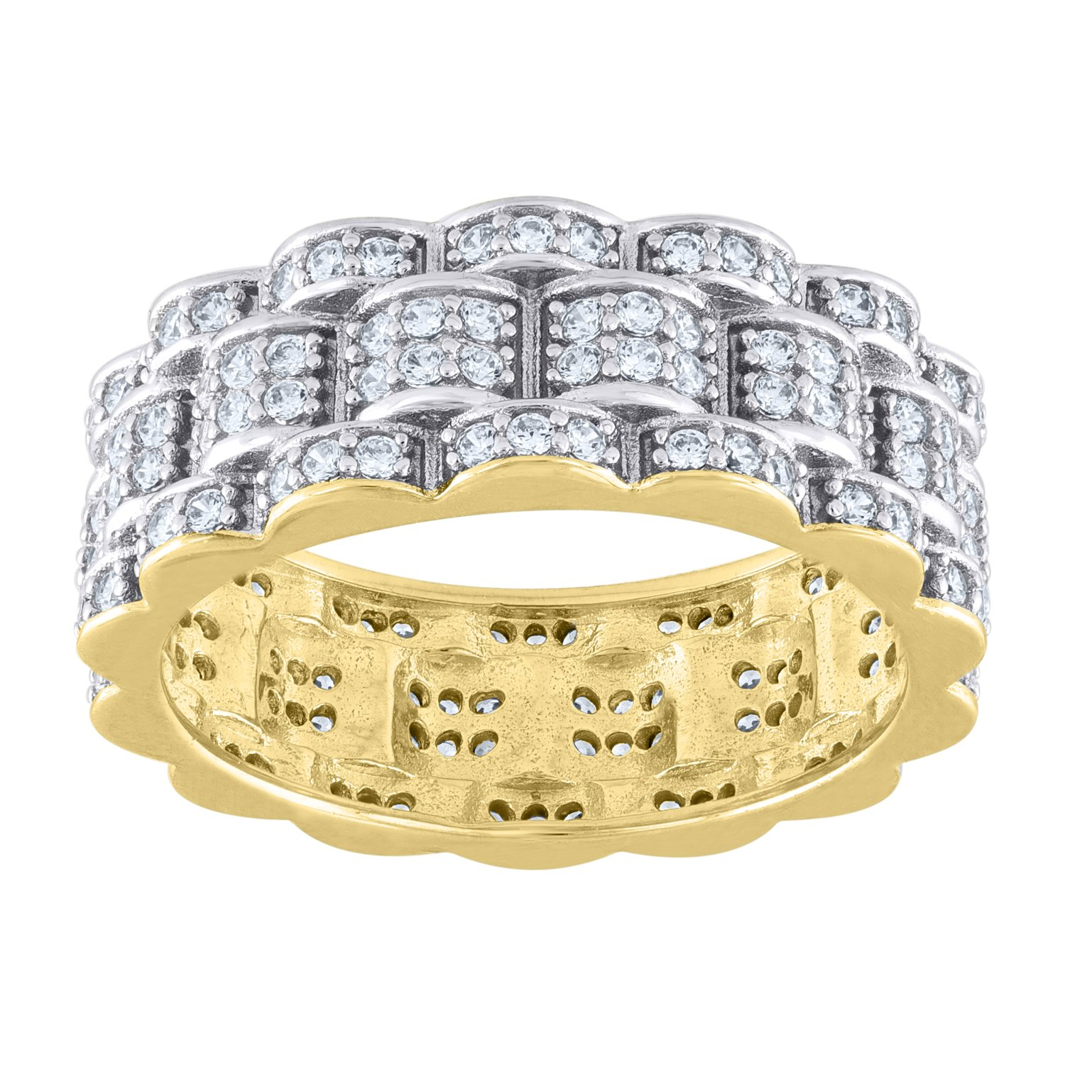 Jewels By Lux Sterling Silver Mens Two-tone CZ Presidential SZ11-Eternity Ring BandSet With The Highest Quality Cubic Zirconia Ring Size 11