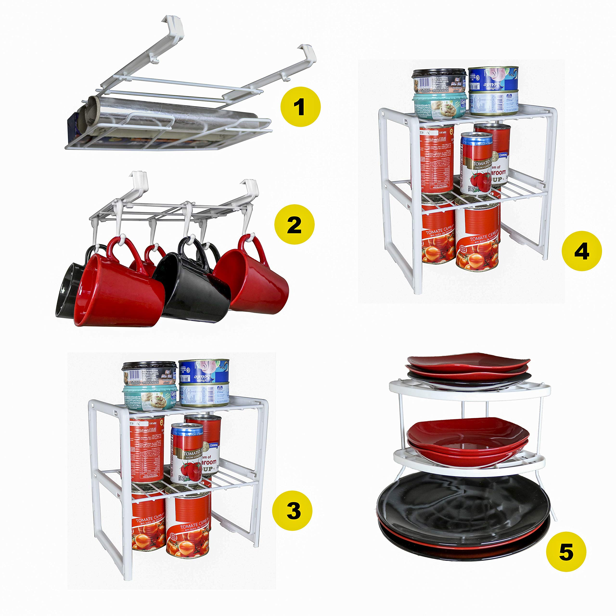 5 Pieces Cabinet Organizer Set - 1 Undershelf Placemat and Wrap Holder, 1 Undershelf Mug Rack, 2 Double Cabinet Shelf, 1 Corner Plate Rack