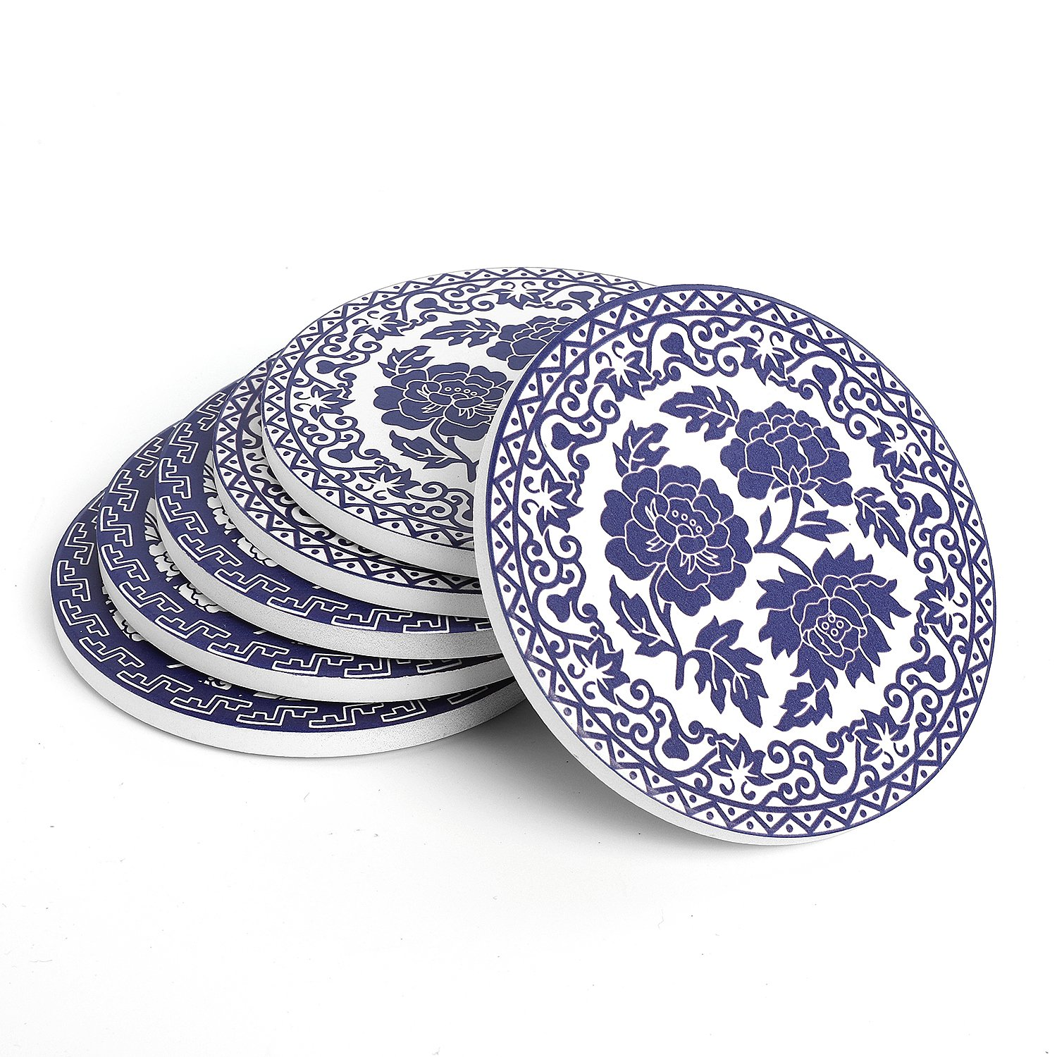 Teocera Drink Coasters - Blue and White China Absorbing Stone Coasters with Cork Base, Set of 6