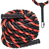 Battle Ropes with Anchor Kit and Nylon Protector Included - Fitness Undulation Rope Exercise - Cross Strength Training - Crossfit Circuits Workout