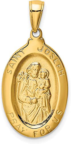 14K Yellow Gold Miraculous Medal Pendant Charm Jewerly 31mm x 15mm