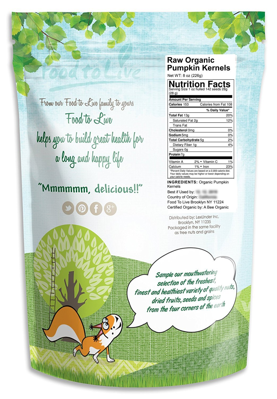 Amazon.com : Pepitas / Semillas de calabaza orgánicas de Food to Live (Crudas, sin cascara) (8 Ounces) : Grocery & Gourmet Food