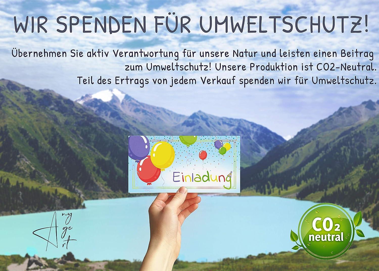 Any Age Art Luftballons 12 Einladungskarten Kindergeburtstag Einladungen Kinder M/ädchen Jungen Geburtstag Karten Feier Party Ballons 12 Einladungskarten