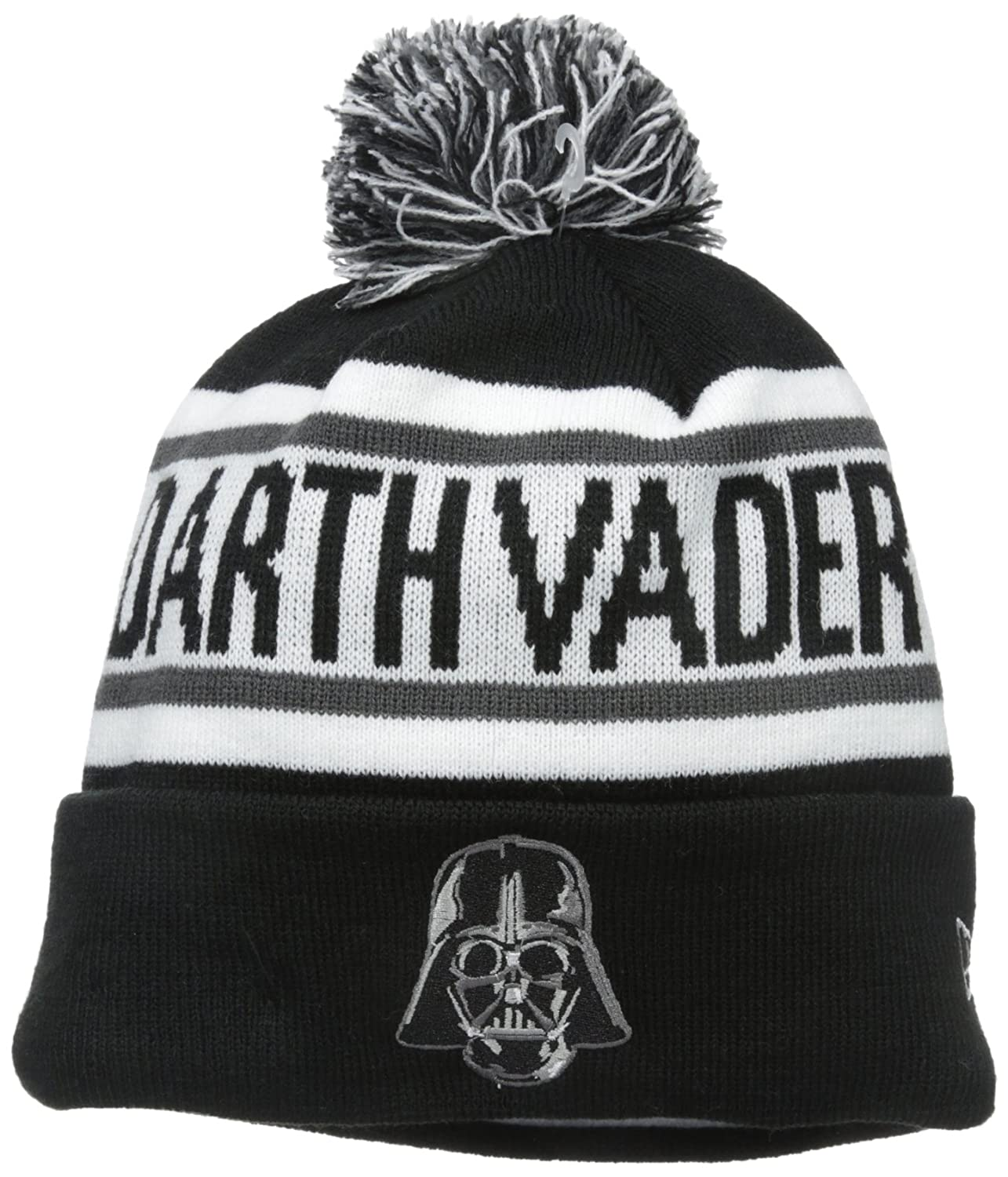 New Era Cap Men's Darth Vader Biggest Fan Redux Pom Knit Beanie, Black/Gray, One Size New Era Young Mens Child Code 80195355