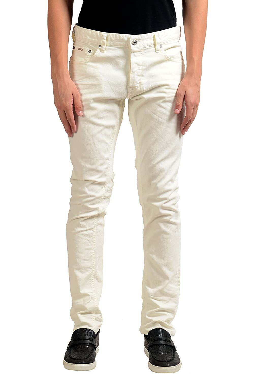 Just Cavalli Mens Off White Stretch Slim Jeans US 32 IT 48