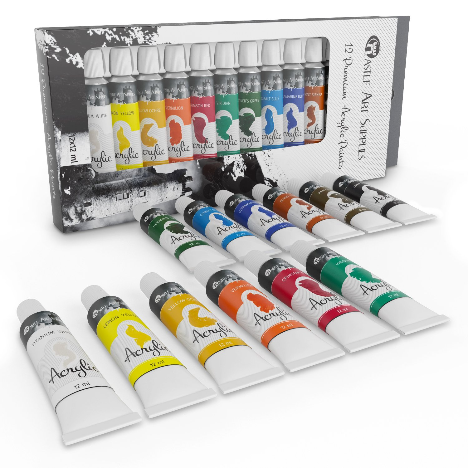 Acrylic Paint Set for Beginners, Students or Artists - A Perfect Mix of Quality and Versatility - Vivid Colours - Easy to Blend and Good Coverage on Paper, Canvas, Wood or Fabric - Not Too Thick for Great Flexibility - 100% Satisfaction Money Back Guarant