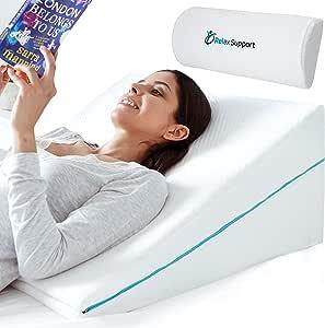 Relax Support RS6 - Almohada de cuña de espuma viscoelástica 3 en 1, tecnología grande ajustable para cama para reflujo, lectura, ronquidos para dormir para apoyar el cuerpo, espalda, cuello, piernas, embarazo