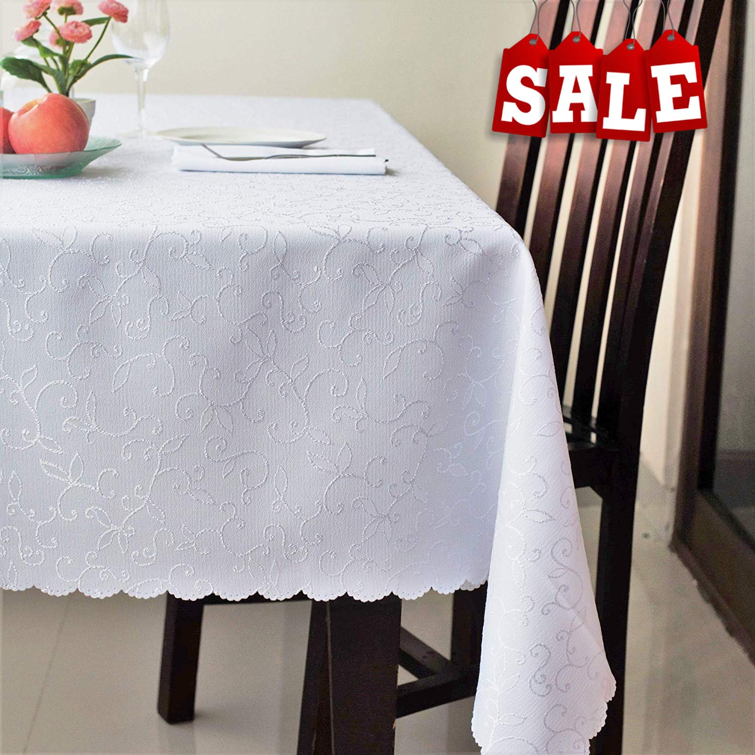 "Stain Resistant Turkish White Dining Tablecloth Polyester Table Cover - Rectangle Square Round Washable Non Iron - Thanksgiving Christmas Dinner Wedding New Year Eve Gift (WHITE, Rectangle 60""x120"")"
