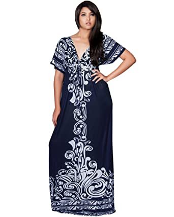 6d7b2943e494b KOH KOH Women Long Print Kimono Short Sleeve V-Neck Beach Summer Casual  Kaftan Boho