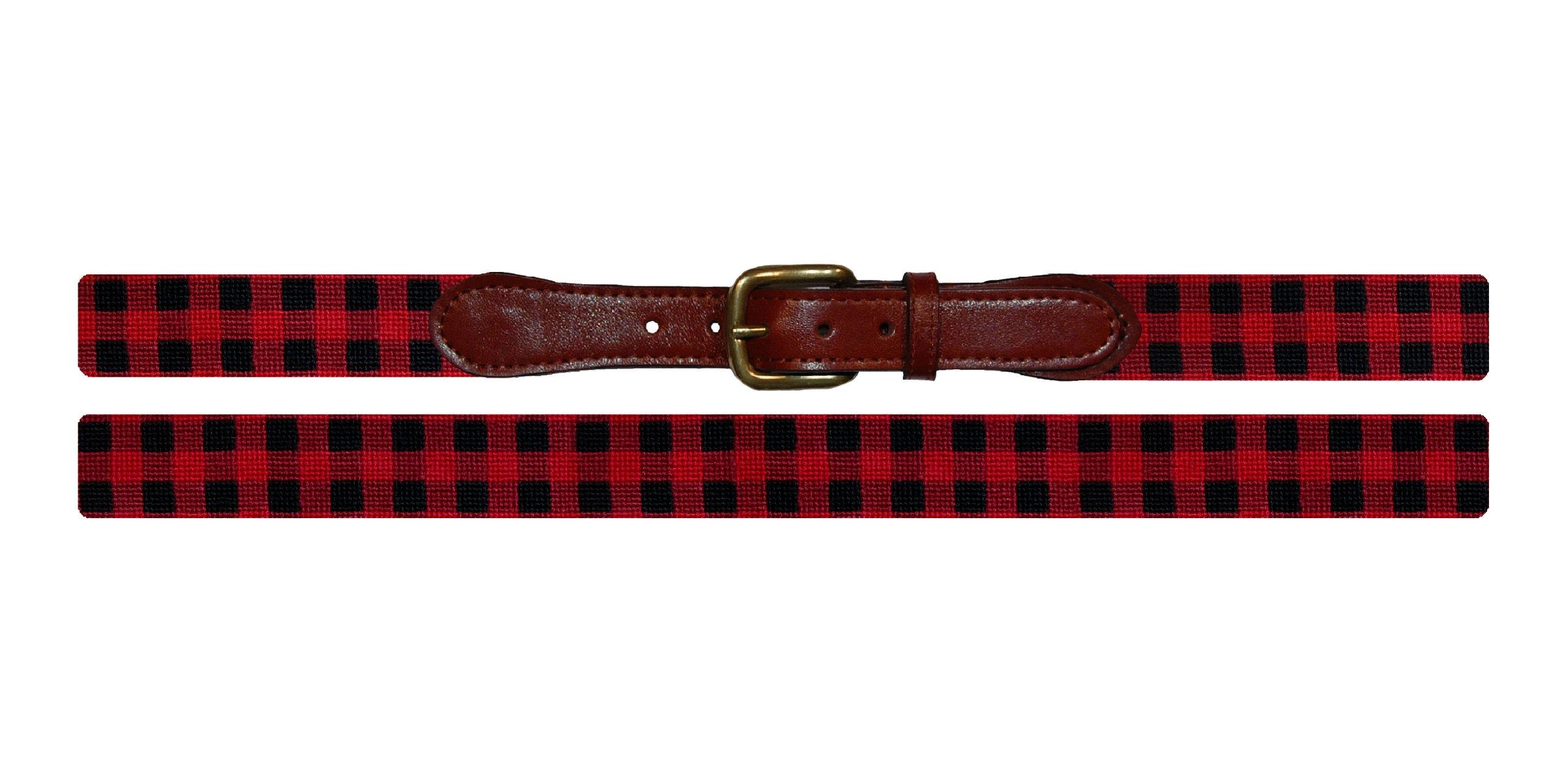 Smathers & Branson Lumberjack Plaid Needlepoint Belt, Multi - 38 (B-209-38)