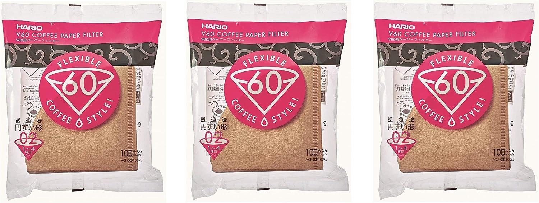 Misarashi Pack 3 Cajas de 100 Filtros de Caf/é Tama/ño 02 Hario VCF-02-100MK Para Hario V60 1 a 4 tazas