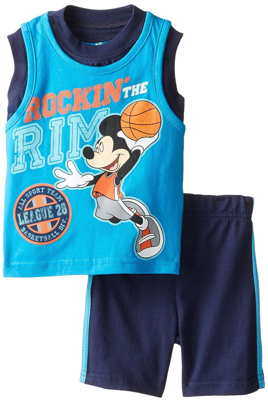 Disney Mickey Mouse Toddler Boys 2 Piece Shirt Shorts Set Size 18M Sleeveless