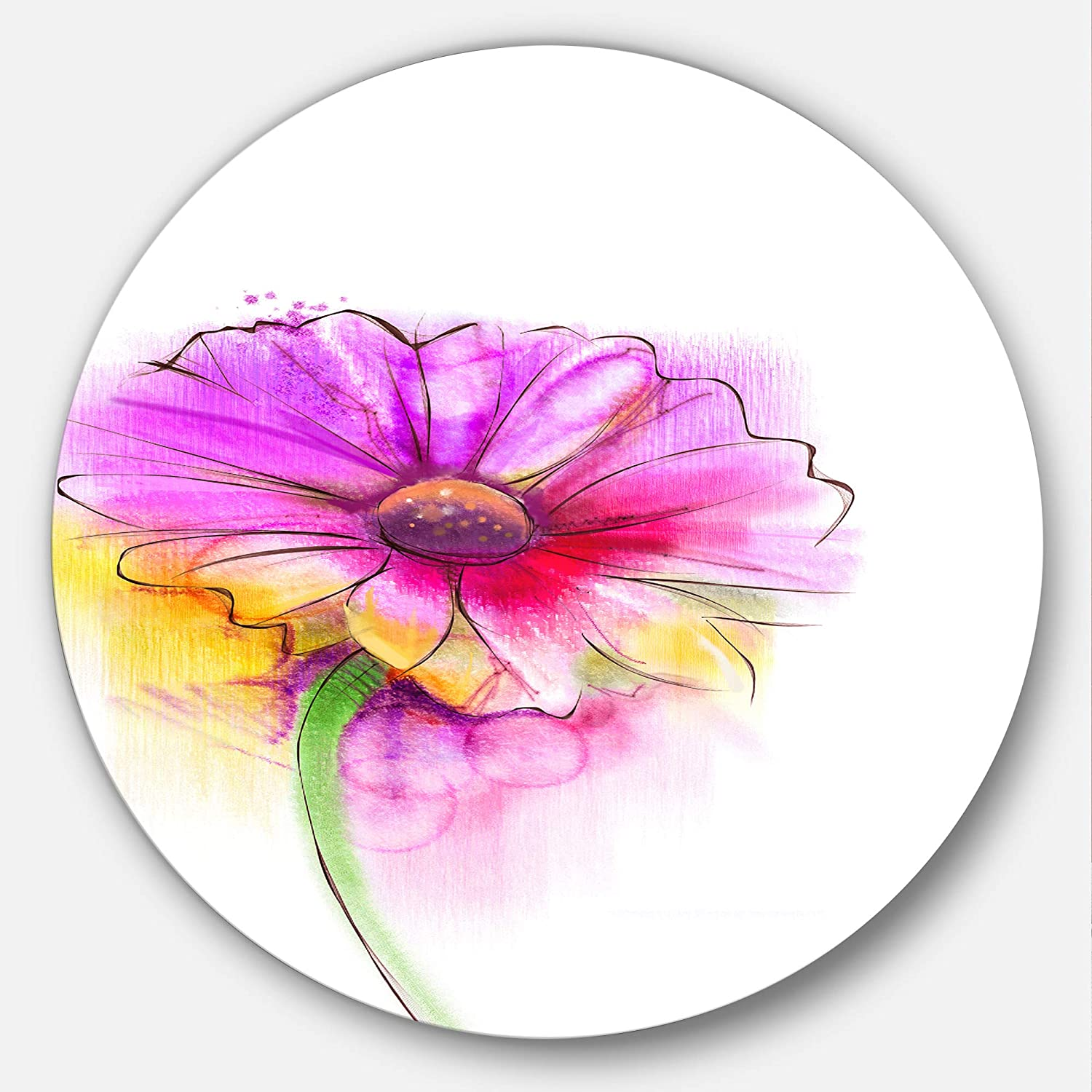 Red Designart Purple Yellow Gerbera Flower Circle Wall Art Disc of 23 inch 23X23-Disc