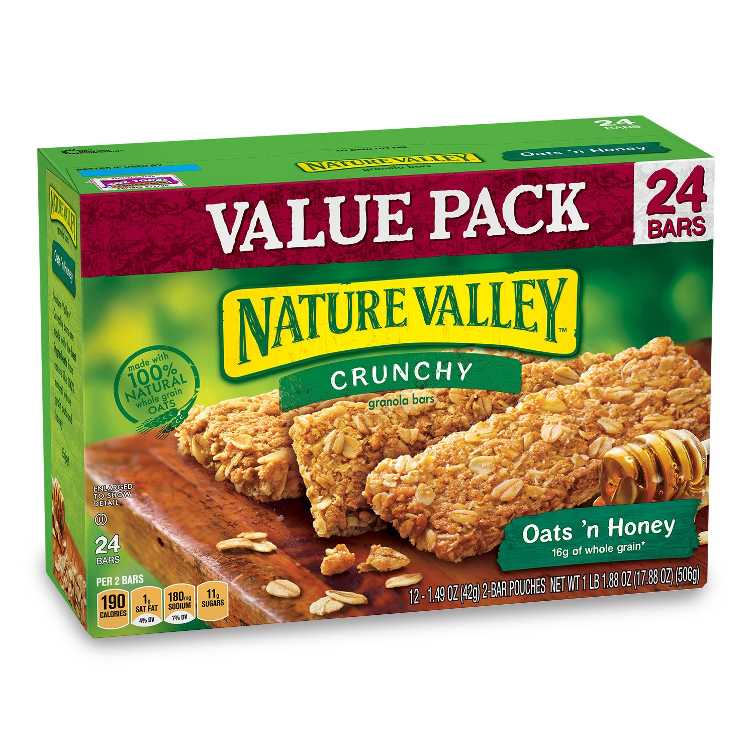 Nature Valley Granola Bars, Crunchy, Oats and Honey, 1.49 Ounce , 24 Count (Pack of 6) by Nature Valley (Image #1)