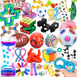 61 Pcs Sensory Fidget Toys Pack,Stress & Anxiety Relief Tools Bundle Figetget Toys Set for Kids Adults,Autistic ADHD Toys,Stress Balls Fidget Spinner Marble Mesh Puzzle Ball Pop Tube Fidget Box
