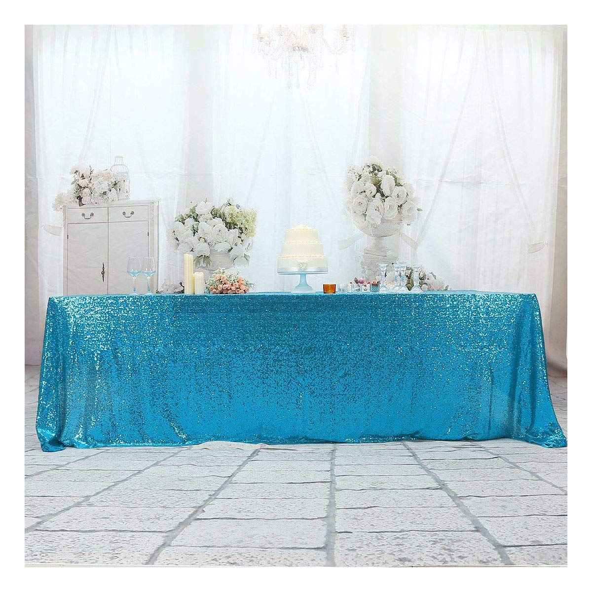 3e Home 50×80'' Rectangle Sequin Tablecloth for Party Cake Dessert Table Exhibition Events, Turquoise
