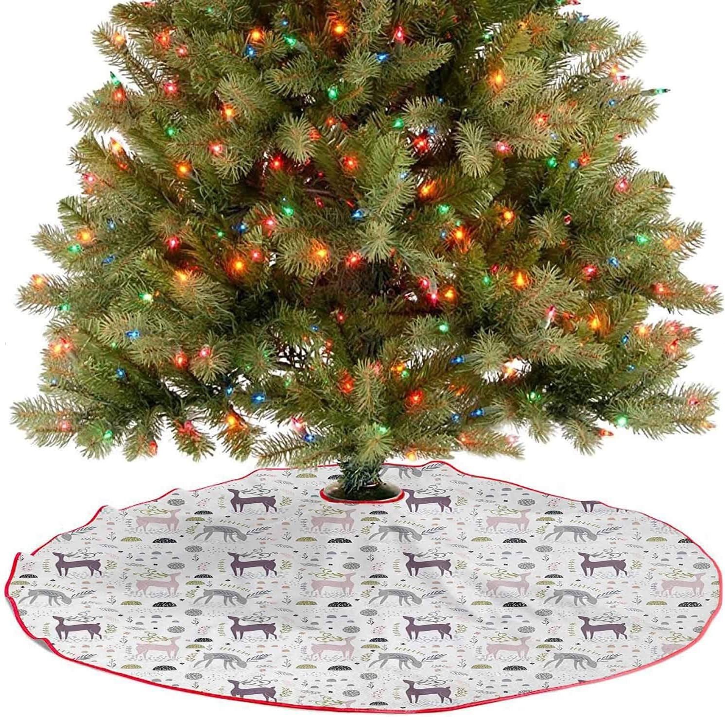 Christmas Tree Skirt 36 Inch Forest Holiday Party Tree Skirt Enchanted Woodland Creatures Deer with Curved Antlers Foliage Dotted Rocks Pattern Christmas Tree Holiday Decor Multicolor