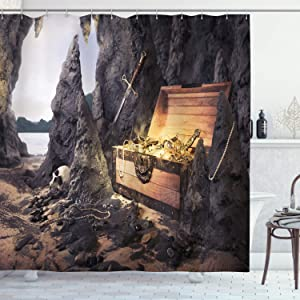 "Ambesonne Fantasy Shower Curtain, Open Treasure Chest with Gold Coins in Cave Pirate Fairy Illustration, Cloth Fabric Bathroom Decor Set with Hooks, 84"" Long Extra, Charcoal Amber"