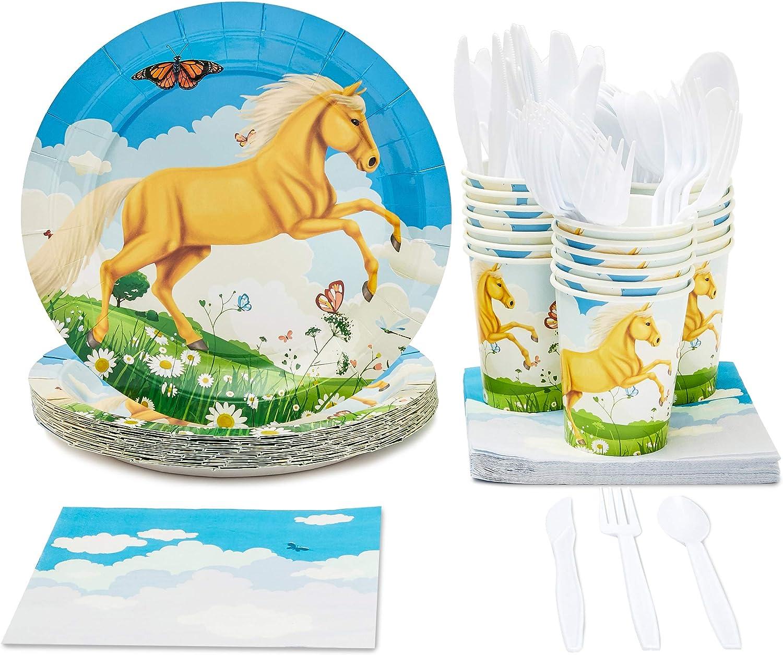 Vajilla desechable para 24 personas – Suministros de fiestas de cumpleaños para niños, con diseño de pony – Incluye cuchillos de plástico, cucharas, tenedores, platos de papel, servilletas, tazas
