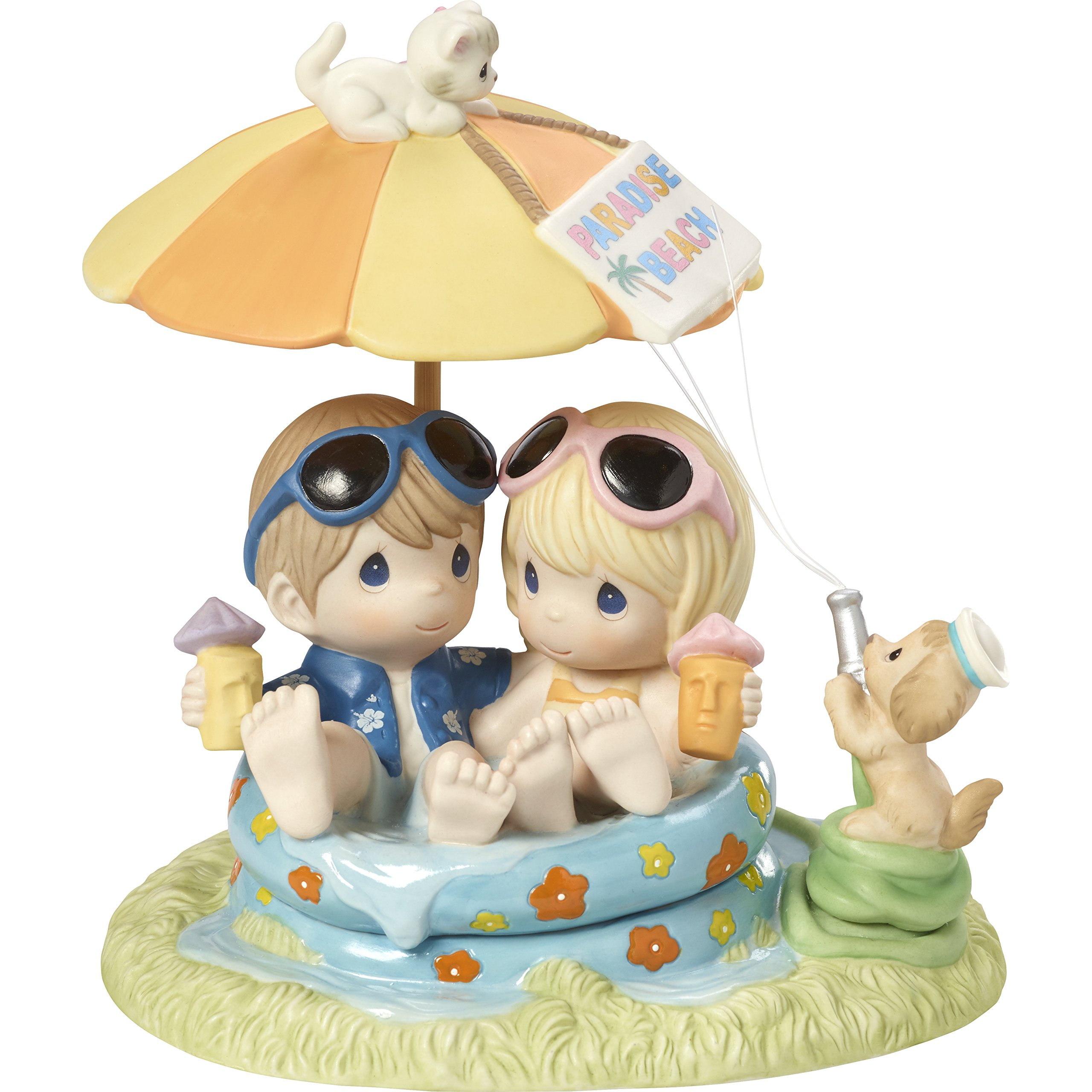 Precious Moments 172001 Everyday with You is Paradise Bisque Porcelain Figurine Limited Edition Couple in Pool by Precious Moments