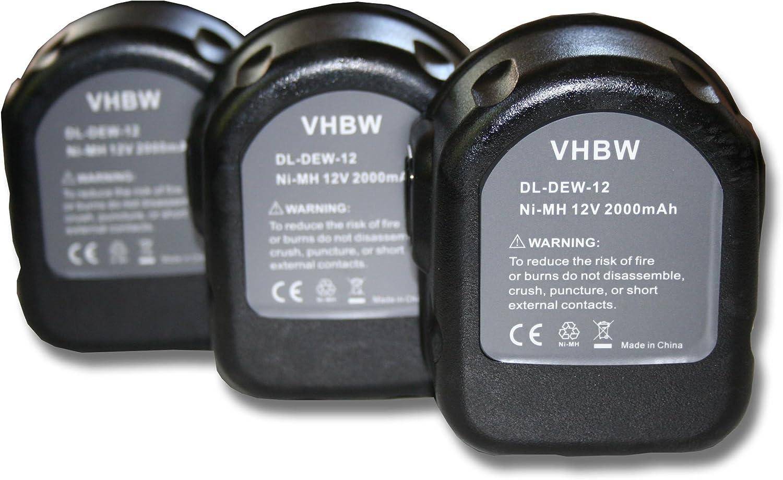 vhbw 3x Ni-MH batería 2000mAh (12V) para herramientas DW9074 Dewalt DE9071, Rems máquinas de prensa por Dewalt DC9071, DE9037, DE9071, DE9074.