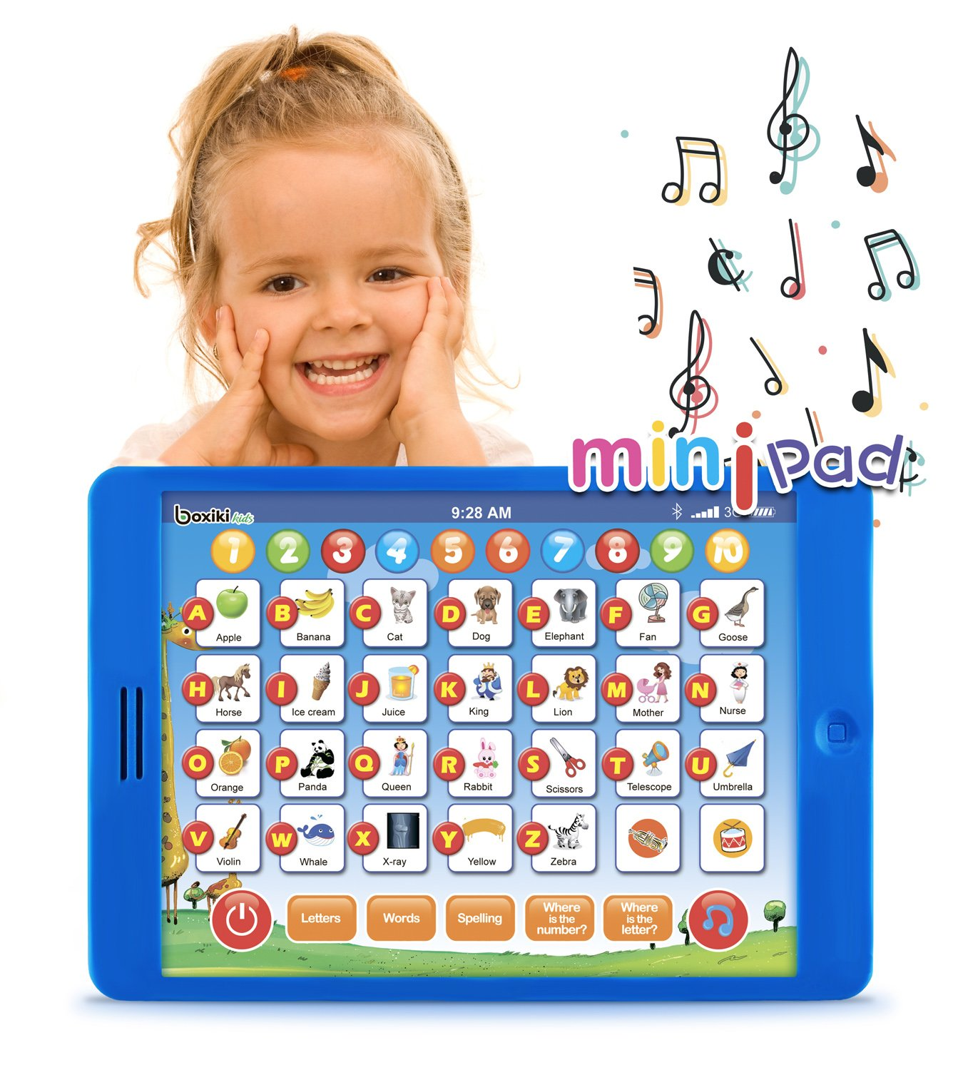 "Boxiki kids Learning Pad Fun Kids Tablet with 6 Toddler Learning Games by Early Child Development Toy for Number Learning, Learning ABCs, Spelling, ""Where Is?"" Game, Melodies. Educational Toy"