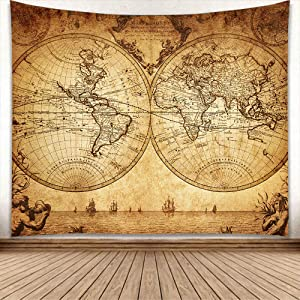AYBY Retro World Map Printed Home Decor Tapestry Wall Hanging Sheets Picnic Blanket Hippie Macrame Psychedelic Tapestry Curtain (130 x 150 cm,Style-1)