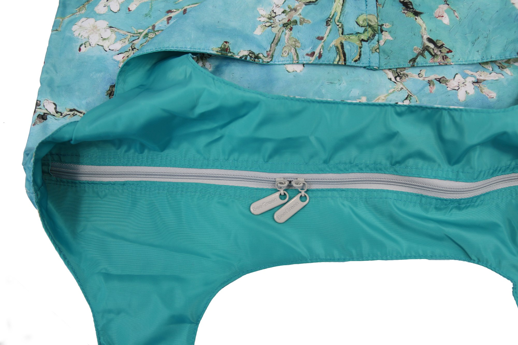 Reusable Grocery Bags with Zipper Closure,Foldable into Zippered Pocket … (Apricot tree) by BeeGreen (Image #2)