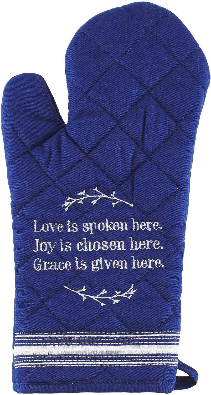 Love Joy Grace Oven Mitt in Blue