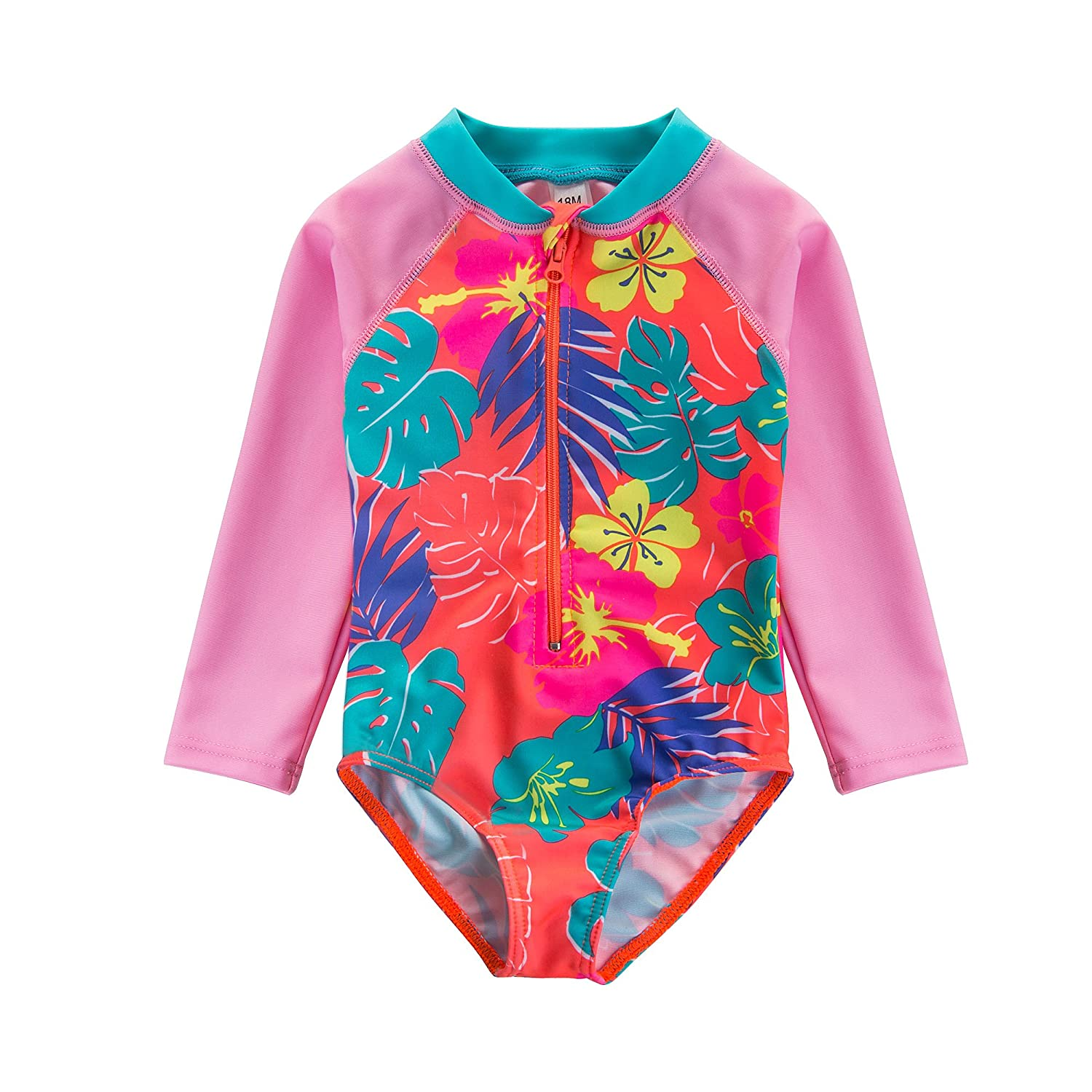 Wishere Baby Girl One-Piece Swimsuit Sunsuit Rash Guard