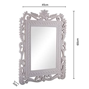 Homesake French Carved Royal Vintage Decorative Wooden Wall Mirror, White