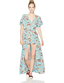 c63e0b7d190 Amazon.com  Angie Women s Ivory Printed Vneck Maxi Romper with ...