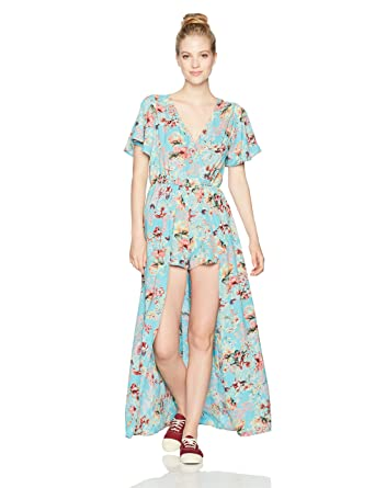 1bc8067611c3 Amazon.com  Angie Women s Blue Printed Maxi Romper with Surplus  Clothing