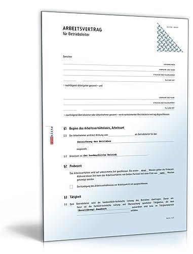 Arbeitsvertrag Für Betriebsleiter Pdf Download Amazonde Software