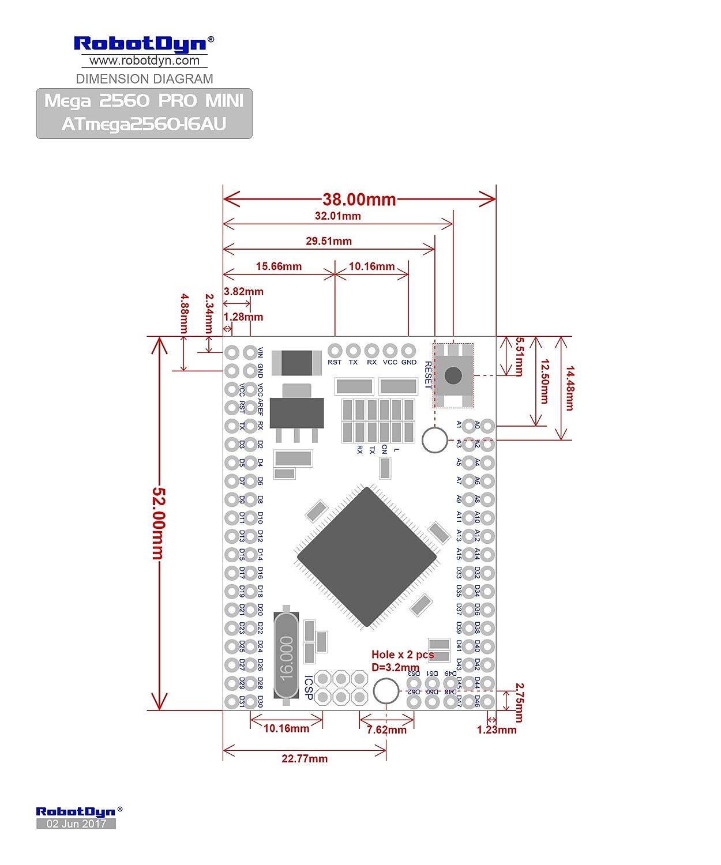 RobotDyn - 2560 Mega Pro Mini / ATmega2560-16AU 3.3V de Arduino clon: Amazon.es: Electrónica