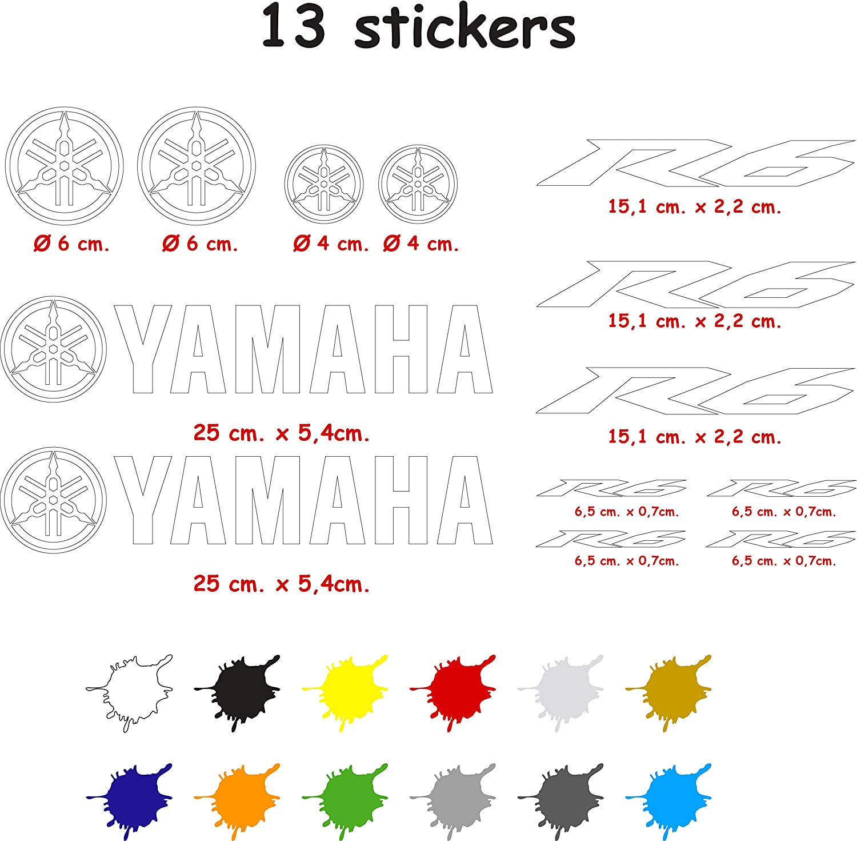 5 /à 7 ans blanc Kit dautocollants Yamaha R6 d/écoup/és en vinyle