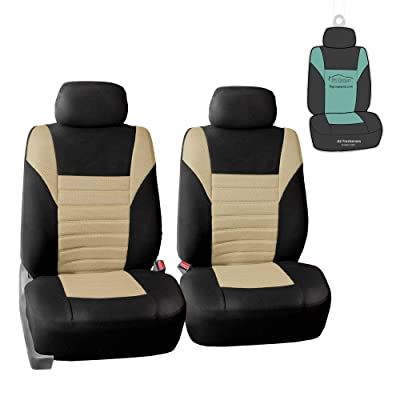 FH Group FB068102 Premium 3D Air Mesh Seat Covers Pair Set (Airbag Compatible) w. Gift, Beige/Black Color- Fit Most Car, Truck, SUV, or Van: Automotive