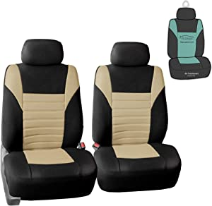 FH Group FB068102 Premium 3D Air Mesh Seat Covers Pair Set (Airbag Compatible) w. Gift, Beige/Black Color- Fit Most Car, Truck, SUV, or Van